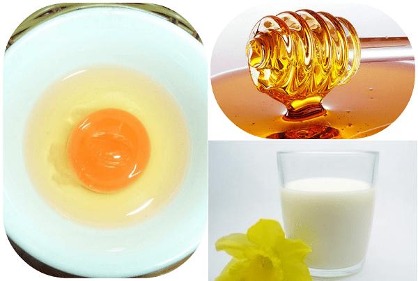 Hỗn hợp làm trắng da toàn thân từ sữa tươi + trứng gà + mật ong