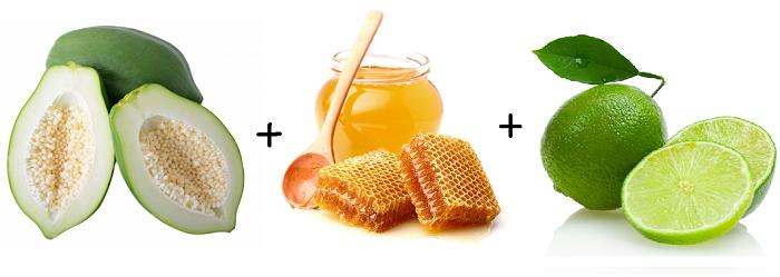 Trị nám da bằng đu đủ + mật ong + nước chanh